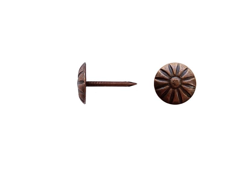 Cui decorativ tapiterie 1.3x11/16.5 mm flower bronzin varsta 100buc