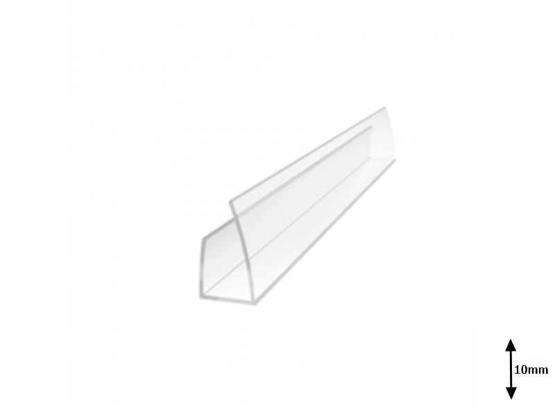 Profil U 10 mm lateral 2.1 m Transparent