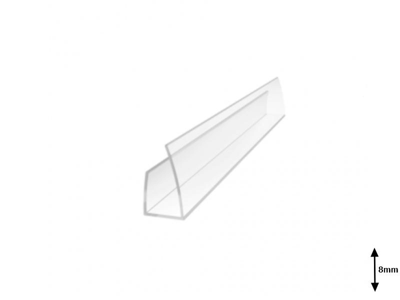 Profil U 8 mm lateral 2.1 m Transparent
