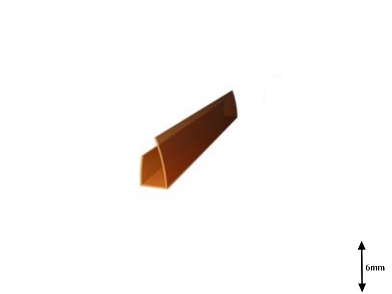 Profil U 6 mm lateral 2.1 m Bronz