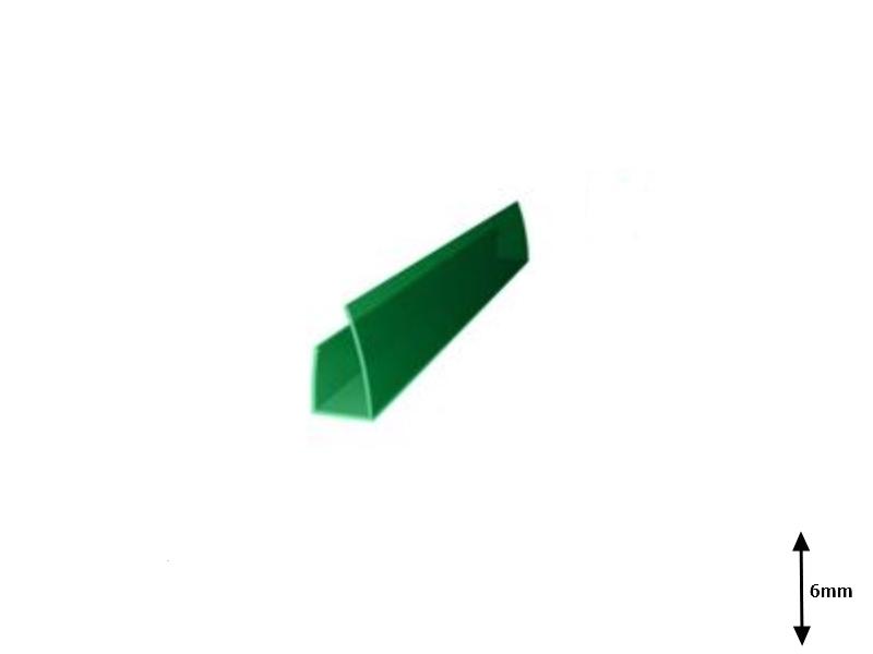 Profil U 6 mm lateral 2.1 m Verde