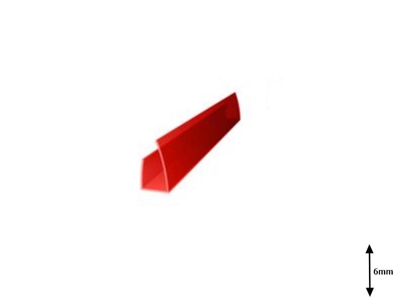 Profil U 6 mm lateral 2.1 m Rosu