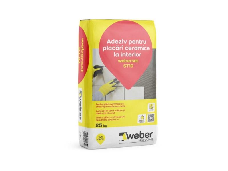 .Weberset ST10 25 kg adeziv pt terac. interior (1 pal=48 sac)