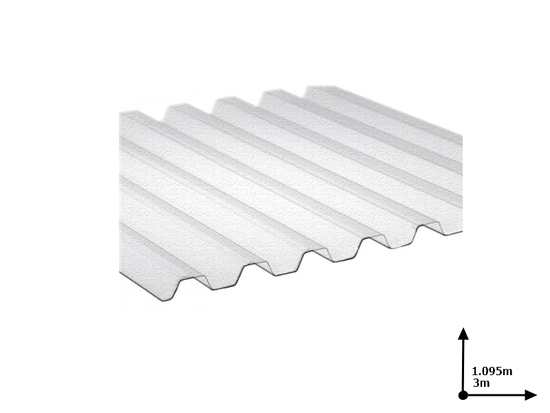 Ardezie PVC Ondex transparent 3.0*1.095 m trapezoid